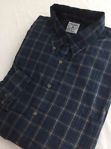 Brooks Brothers Sport Shirt Navy Forest Green Purple & Gold Size XL