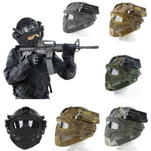 Tactical Protective Helmet Outdoor Airsoft Paintball Game Full Face Mask New