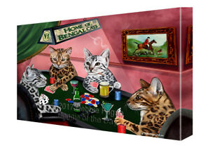 Home of Bengal 4 Cats Playing Poker Canvas Wall Art