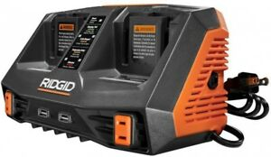 RIDGID Dual Port Battery Charger Rapid 18V Dual-USB Ports Energy Save Mode
