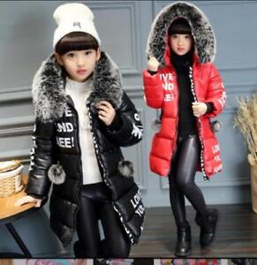 Girls PU Leather Fur Collar Outwear Slim Fit Jackets Winter Warm Kids Child Hot