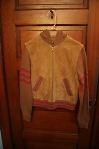 Women's Vintage Wilson's Leather Jacket W Hoodie Tan W Pink Stripes Size M