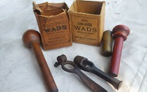 Vintage antique Box of Winchester & UMC wads with Reloading Tools for Shotgun