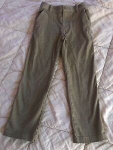 Under Armour Khaki Pants YSM Youth Small Golf Uniform Adjustable Waist Tan Brown