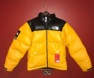 Supreme The North Face Leather Nuptse Jacket SMALL - Yellow