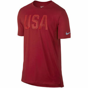 NIKE TEAM USA RIO OLYMPICS RED STEALTH L LARGE T SHIRT DRI FIT 801149 687