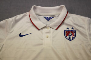 NIKE USA National Team Soccer Womens White Dri-Fit SS Polo Shirt Jersey NWT  XL