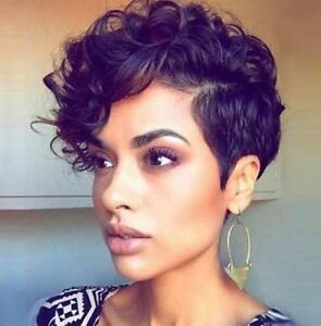 Chic Short Cut Curly Hairstyle Women Black Color Afr American Synthetic Hair Wig