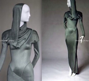VINTAGE ALAIA HOOD SPIRAL ZIPPER GOWN SAGE GREEN ACETATE DRESS ~ FIT MUSEUM~S
