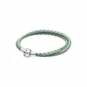 AUTHENTIC PANDORA Lt Green Braided Double-Leather Charm Bracelet D-2  38cm15in