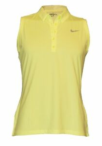 Nike Women's Golf Precision Performance Sleeveless Yellow Dri-Fit Polo Shirt