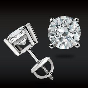 14K White Gold 1.CT Brilliant Created Diamond Earrings Round Stud Screw-Back