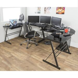 Corner Glass Desk Black Modern Style Home CPU Video Gaming Tempered Contemporary