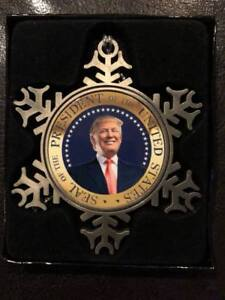 Snowflake shaped pewter US PRESIDENT DONALD TRUMP Christmas ornament in gift box $12.95