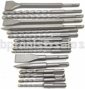 17 PC SDS PLUS ROTARY HAMMER BITS DRILL BIT & CHISEL GROOVE CONCRETE