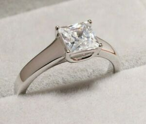 1 CT Princess CUT DIAMOND SOLITAIRE ENGAGEMENT RING 18K WHITE GOLD ENHANCED 5.5