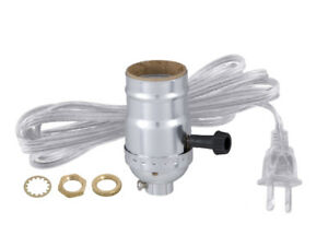 TABLE LAMP ON OFF SOCKET w Cord REWIRING KIT Antique Silver Brass
