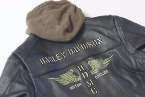 Harley Davidson Men Trek HDMC Wing Black Leather Jacket Hoodie 3n1 XL 97193-10VM