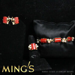 MING'S HAWAII RED CORAL & PEARL 14K YELLOW GOLD BRACELET RING SCREW EARRINGS