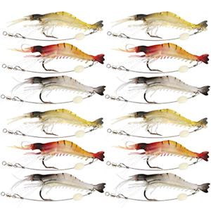 Shelure Soft Lures Shrimp Bait Set Kit Lots For Freshwater Trout Bass Salmon