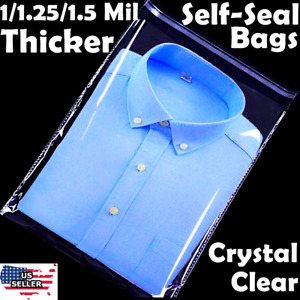 9x12 Poly Clear Plastic Bags 100 500 1K Self Adhesive T Shirt Apparel Resealable $19.88