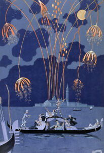 Fireworks in Venice by Georges Barbier  Giclee Canvas Print Repro