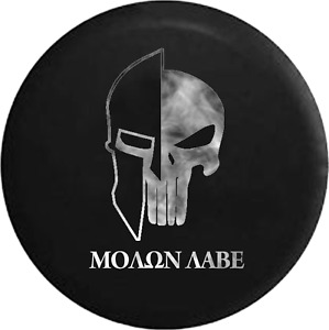 Molon Labe Tactical Skull Helmet Smoked Out Spare Jeep Tire Cover