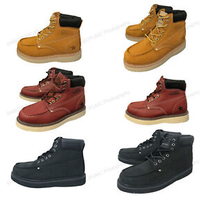 Brand New Mens Moc Toe Boots Leather Water Oil Resistant Insulated Roofing Work