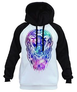 Men's Galaxy Tribal Lion White Raglan Hoodie Animal Wildlife Hunting Beast B248
