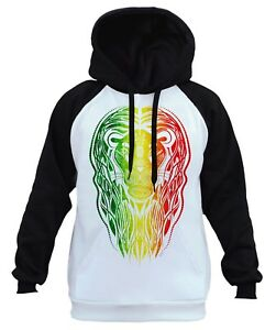 Men's Rasta Tribal Lion White Raglan Hoodie Animal Wildlife Hunting Beast B252