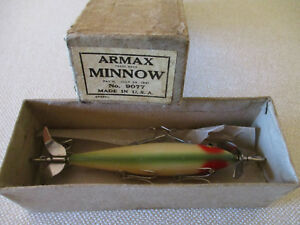 Early Winchester 5 Hook Minnow in Parot Color and Correct Armax Trade Box