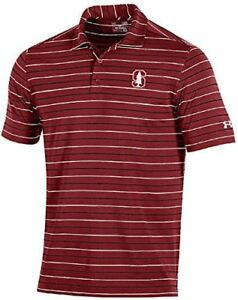 Stanford Cardinal Mens Cardinal Stripe 2.0 Under Armour Performance Polo Shirt