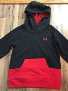 Toddler UNDER ARMOUR HOODIE SWEATSHIRT Size 4T Black Red Great Condition!