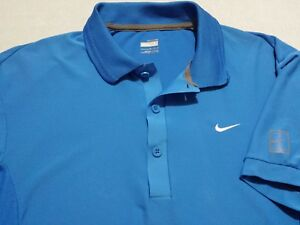 Nike Tennis Fit Dry Mens Large Short Sleeve Solid Blue Athletic Polo Shirt