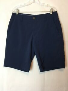 Men's Under Armour UA Shorts Navy Blue Performance Flat Front Golf 34 Long