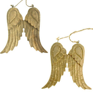 Large Hanging Wooden Angel Wings Christmas Tree Ornament, 8-Inch