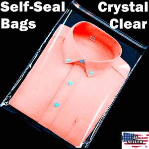 12x15 Clear Resealable Self Adhesive Seal Cello Lip amp; Tape Plastic Bags T Shirt