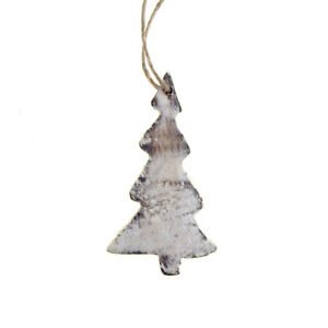 Hanging Wooden Slender Christmas Tree Ornament, White, 4-Inch