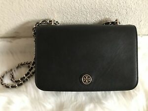 Tory Burch Robinson Black Leather Adjustable Shoulder & Cross body Bag