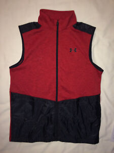 UNDER ARMOUR Boys Storm Hybrid Golf Zip Vest Red Black Boys L Baseball Glove