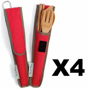 ChicoBag ToGoWare RePEaT Utensil Set Bamboo Flatware Cayenne Red Pouch (4-Pack)