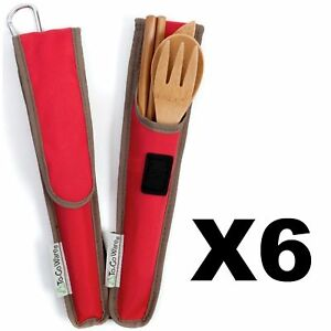 ChicoBag ToGoWare RePEaT Utensil Set Bamboo Flatware Cayenne Red Pouch (6-Pack)
