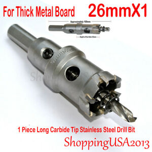 1 Pcs 26mm Long Carbide Tip TCT Drill Bit Hole Saw Cutter Tool Stainless Steel