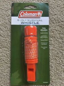 Emergency Camping Coleman 5 in 1 Survival Whistle Compass Mirror Matchbox