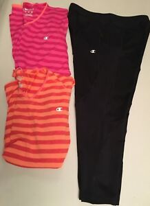 Champion Size XL Black Pants SZ L 2 Top Shirts Pink Orang  Lots Of 3 Woman EUC