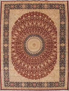 Rugstc 12x18 Senneh Pak Persian Red Area Rug Hand-KnottedFloral with Wool Pile
