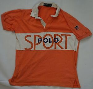 Rare VTG RALPH LAUREN POLO SPORT Spell Out Shield Snow Beach 90s Orange Womens L