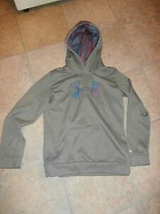 Girls Under Armour  Hoodie Sweatshirt Youth Large Teal & Pink & Gray