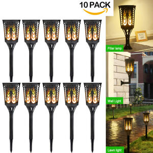 10 Pack 96 LED Rectangle Solar Flames Dancing Torch Lights Wall Light Waterproof