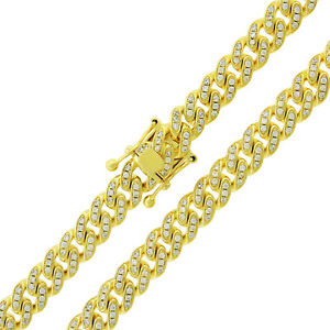 925 Sterling Silver 9mm CZ Iced Out Miami Cuban Gold Plated Bling Chain Necklace